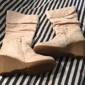 Bamboo Zip Up Slouch Wedge Boots - Sz 7.5
